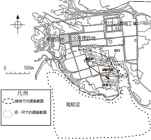 日本原燃(株)の次期埋設施設の調査位置概念図